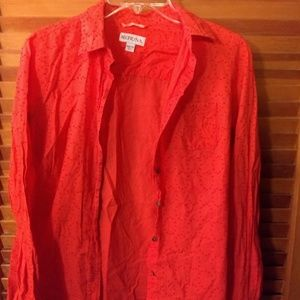 Coral Button-down blouse with circles detail
